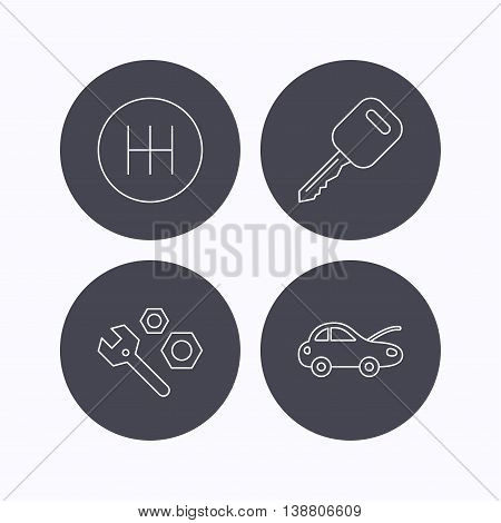 Car key, repair tools and manual gearbox icons. Car repair, transmission linear signs. Flat icons in circle buttons on white background. Vector
