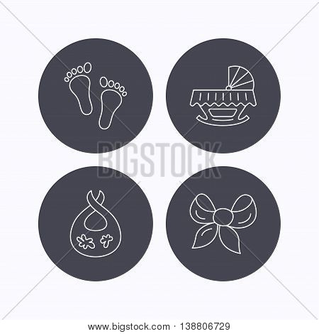 Footprint, cradle and dirty bib icons. Bow linear sign. Flat icons in circle buttons on white background. Vector