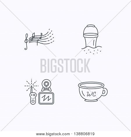 Baby wc, video monitoring and songs for kids icons. Beach bucket linear sign. Flat linear icons on white background. Vector