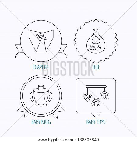Diapers, child mug and baby toys icons. Dirty bib linear sign. Award medal, star label and speech bubble designs. Vector