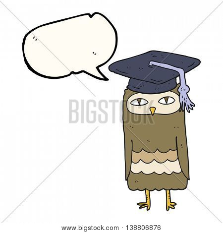 freehand drawn speech bubble cartoon wise owl