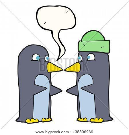 freehand drawn speech bubble cartoon penguins