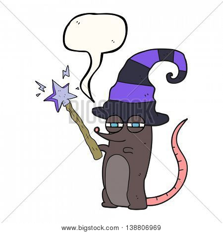 freehand drawn speech bubble cartoon magic witch mouse