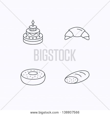 Croissant, cake and bread icons. Sweet donut linear sign. Flat linear icons on white background. Vector