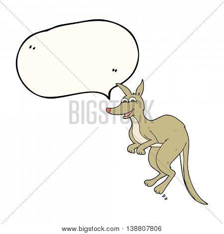 freehand drawn speech bubble cartoon kangaroo