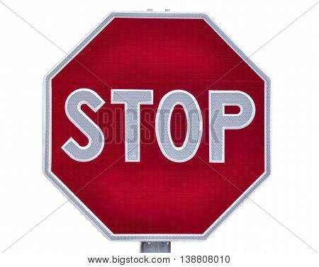 Octagonal road stop sign isolated over white with clipping path.