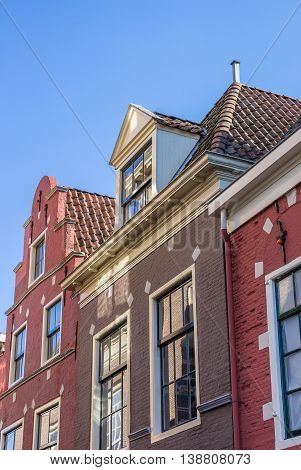 Detail of historical houses in Leeuwarden Netherlands