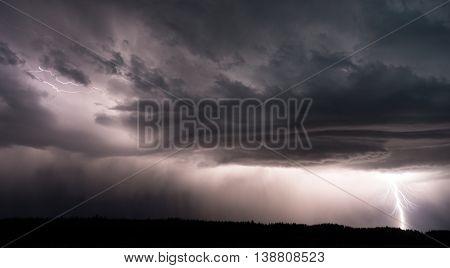 Canyon VillageThunderstorm Lightning Strikes Yellowstone National Park;