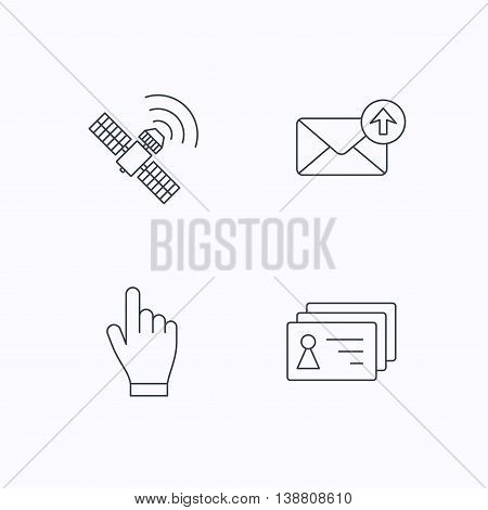 Hand pointer, contacts and gps satellite icons. Outbox mail linear sign. Flat linear icons on white background. Vector