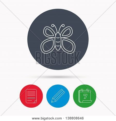 Butterfly icon. Flying lepidoptera sign. Dreaming symbol. Calendar, pencil or edit and document file signs. Vector