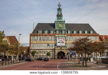 EMDEN, GERMANY - OCTOBER 18, 2014: City hall in the center of Emden, Germany