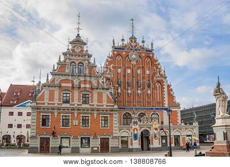 RIGA, LATVIA - MAY 1, 2010: House of the Blackheads in the historical center of Riga, Latvia
