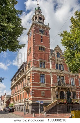 LEER, GERMANY - AUGUST 9, 2014: Town hall in the historical center of Leer, Germany