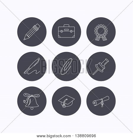Graduation cap, pencil and diploma icons. Award medal, briefcase and bell linear signs. Pen, safety pin icons. Flat icons in circle buttons on white background. Vector