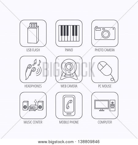 Smartphone, web camera and USB flash icons. Headphones, piano and photo camera linear signs. Computer, music center icons. Flat linear icons in squares on white background. Vector