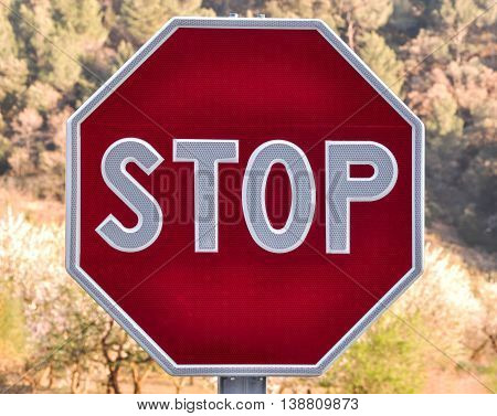 Octagonal road stop sign on blurred background of trees.