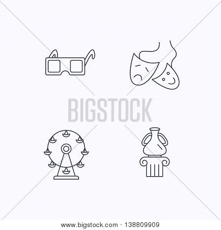 Museum, ferris wheel and theater masks icons. 3d glasses linear sign. Flat linear icons on white background. Vector