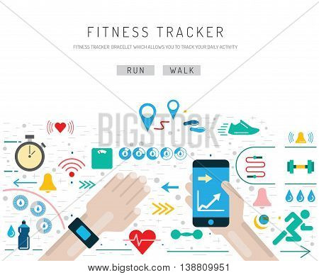 poster of Set of icons fitness bracelet. Fitness tracker pedometer. Fitness tracker with alarm function. Sync fitness tracker and smart phone.