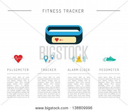 Set of icons fitness bracelet. Fitness tracker pedometer.