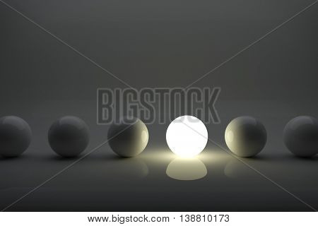 One illuminater ball among grey balls in the row. Iindividuality concept 3D rendering image.