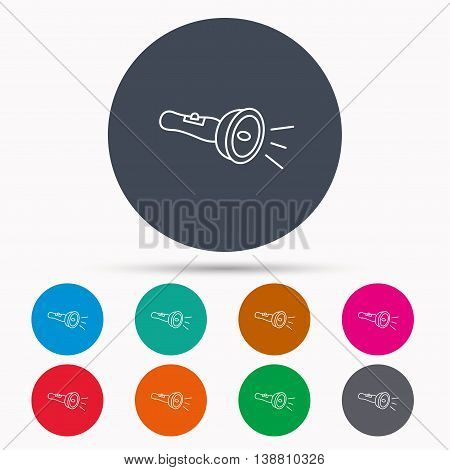 Flashlight icon. Light beam sign. Electric lamp tool symbol. Icons in colour circle buttons. Vector