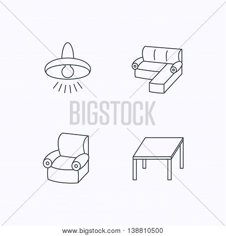 Corner sofa, table and armchair icons. Ceiling lamp linear signs. Flat linear icons on white background. Vector