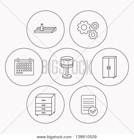 Table lamp, cupboard and wall shelf icons. Chest of drawers linear sign. Check file, calendar and cogwheel icons. Vector
