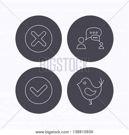 Delete, check and chat speech bubble icons. Dialog linear sign. Flat icons in circle buttons on white background. Vector