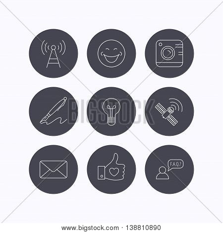 Mail, photo camera and lightbulb icons. Pen, GPS and telecommunication linear signs. FAQ, like and smile icons. Flat icons in circle buttons on white background. Vector
