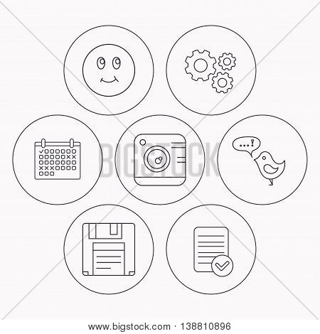 Photo camera, floppy disk and message icons. Smiling face linear sign. Check file, calendar and cogwheel icons. Vector