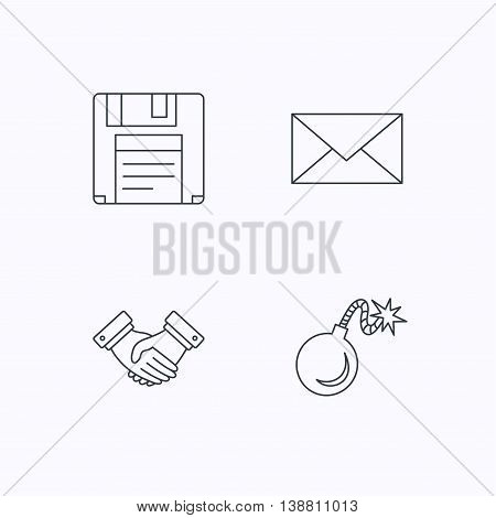 Mail, bomb and handshake icons. Floppy disk linear sign. Flat linear icons on white background. Vector