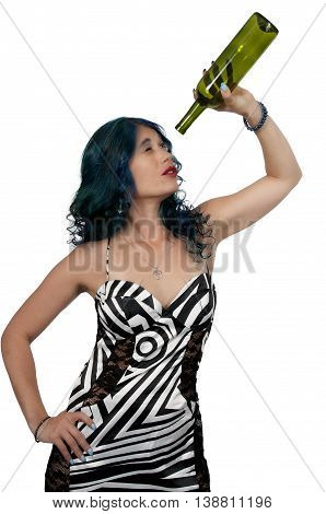 Woman With Empty Wine Bottle