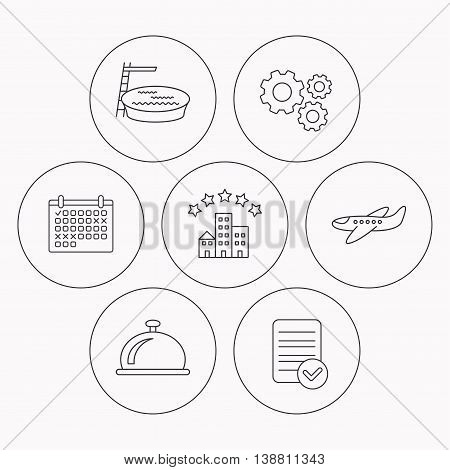 Hotel, swimming pool and airplane icons. Reception bell linear sign. Check file, calendar and cogwheel icons. Vector