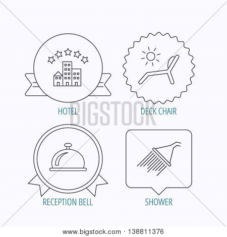 Hotel, shower and beach deck chair icons. Reception bell linear sign. Award medal, star label and speech bubble designs. Vector