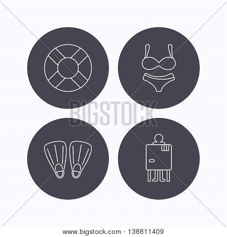 Lifebuoy, lingerie and flippers icons. Changing cabin linear sign. Flat icons in circle buttons on white background. Vector
