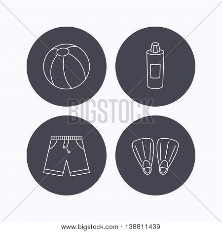 Flippers, swimming ball and trunks icons. Shampoo bottle linear sign. Flat icons in circle buttons on white background. Vector
