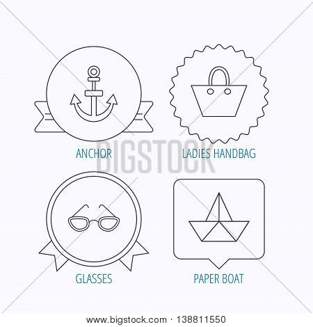 Paper boat, anchor and glasses icons. Ladies handbag linear sign. Award medal, star label and speech bubble designs. Vector