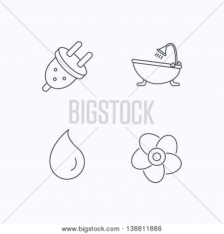 Ventilation, water drop and electric plug icons. Bath linear sign. Flat linear icons on white background. Vector