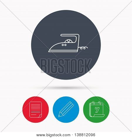 Iron icon. Ironing housework sign. Laundry service symbol. Calendar, pencil or edit and document file signs. Vector