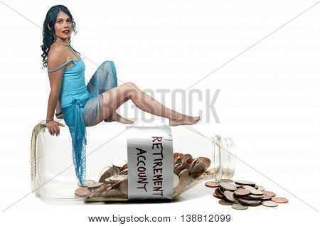 Woman sitting on a milk bottle with coins conceptualizing a retirement account.