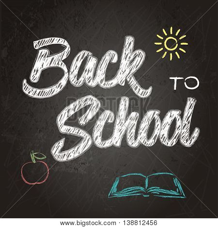 New school year welcoming message vector illustration in retro style. Welcome back to school stationery supplies sale banner with chalkboard background & hand drawn icons. Layered editable