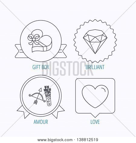 Love heart, brilliant and gift box icons. Amour bow with arrows linear signs. Award medal, star label and speech bubble designs. Vector
