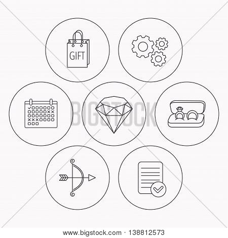 Brilliant, gift and wedding rings icons. Bow and arrow linear signs. Check file, calendar and cogwheel icons. Vector