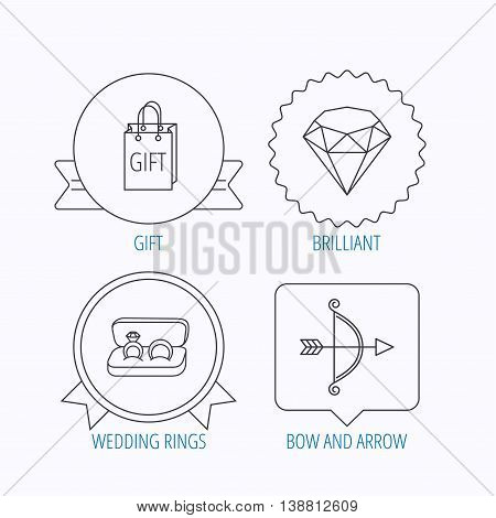 Brilliant, gift and wedding rings icons. Bow and arrow linear signs. Award medal, star label and speech bubble designs. Vector