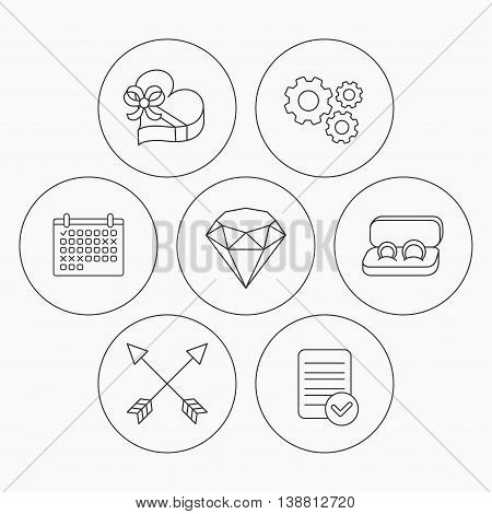 Brilliant, gift box and wedding rings icons. Arrows linear signs. Check file, calendar and cogwheel icons. Vector
