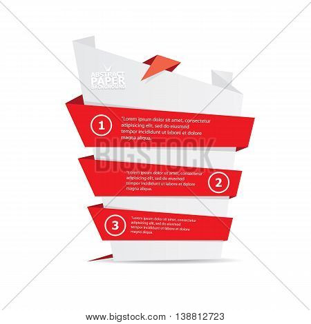 vector origami paper red banner. vector red abstract brochure design template. vector red origami style background for web design and creative cover design.