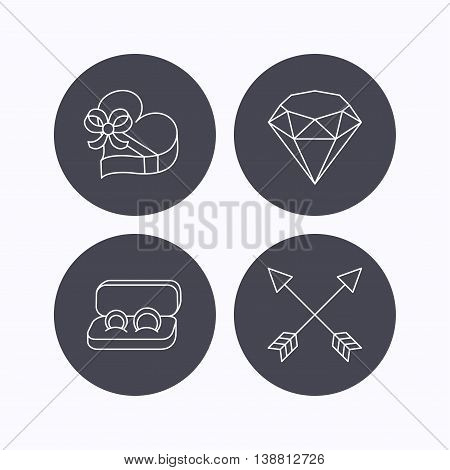 Brilliant, gift box and wedding rings icons. Arrows linear signs. Flat icons in circle buttons on white background. Vector