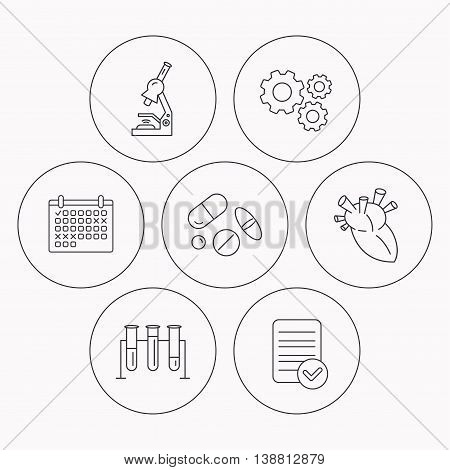 Microscope, medical pills and heart icons. Lab bulbs linear sign. Check file, calendar and cogwheel icons. Vector