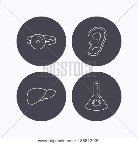 Lab bulb, medical mirror and liver organ icons. Ear linear sign. Flat icons in circle buttons on white background. Vector