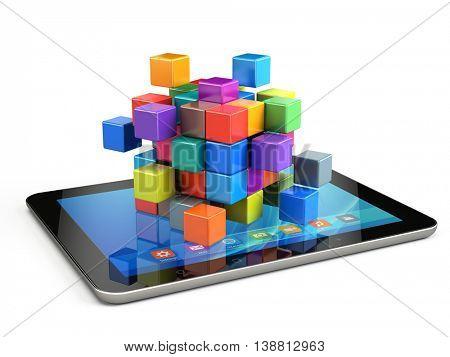 Teamwork business concept - cube assembling from blocks - - 3d render